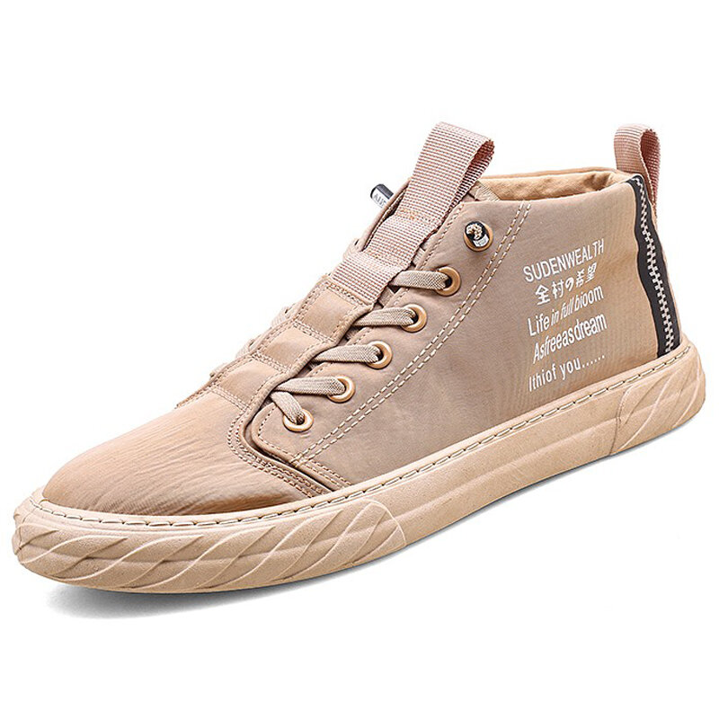 Men Ice Silk Breathable Waterproof High Top Lace Up Casual Sneakers