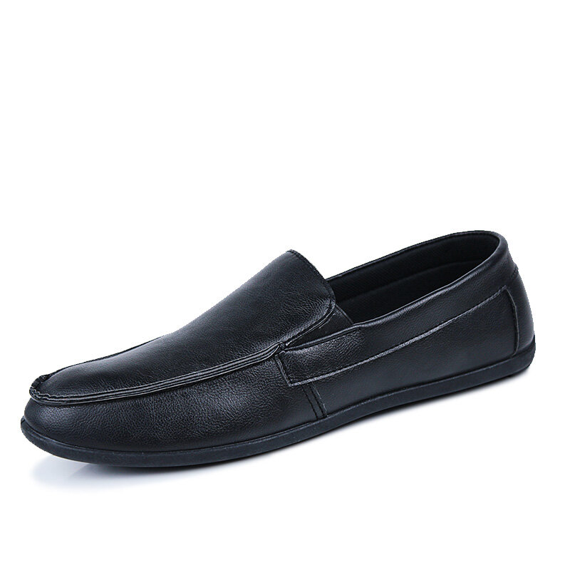 Men Microfiber Leather Non Slip Slip On Loafers Casual Driving Shoes