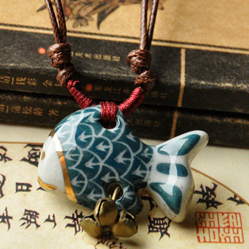 Vintage Geometric Stereoscopic Fish Pendant Necklace Ethnic Handmade Ceramic Adjustable Long Necklace