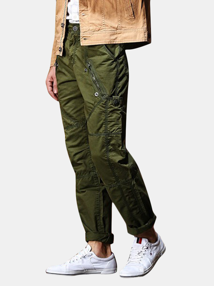 Men's Cargo Pants Zipper Pokets Cotton Casual Straight Trousers