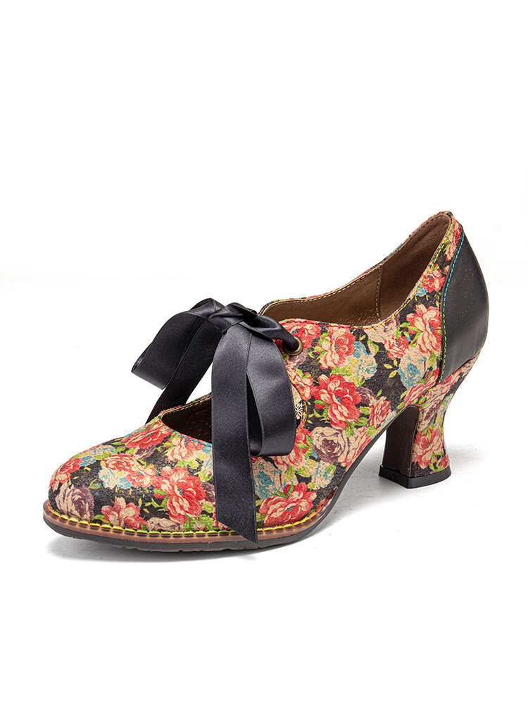 SOCOFY Women Elegant Graceful Little Flowers Printed Comfy Wearable Lace Up Stitching Chunky Heel Pumps