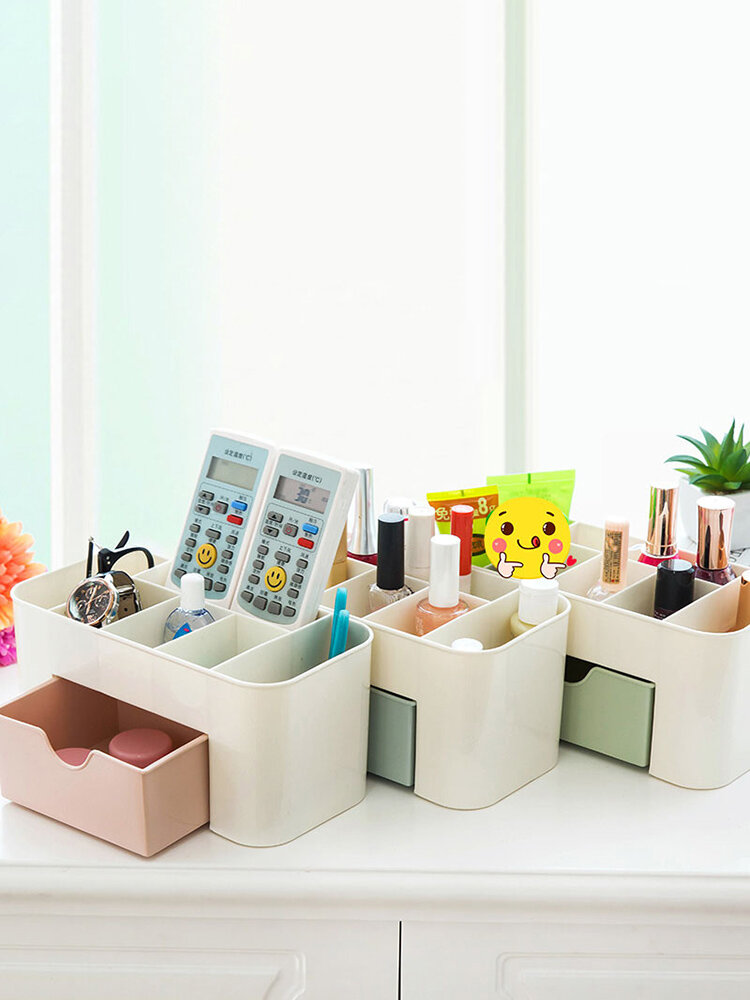 Simple Plastic Desktop Makeup Box With Drawer Multi-Function Jewelry Box Desk Storage
