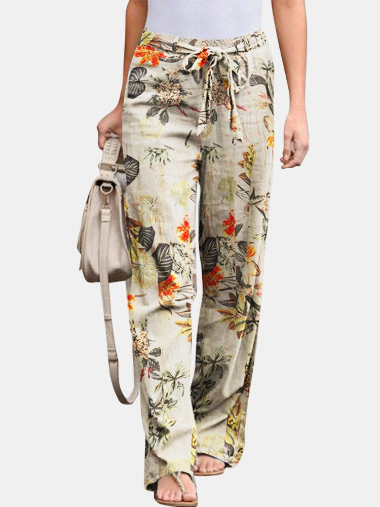 Floral Printed Elastic Waist Straight-Legged Pants For Women