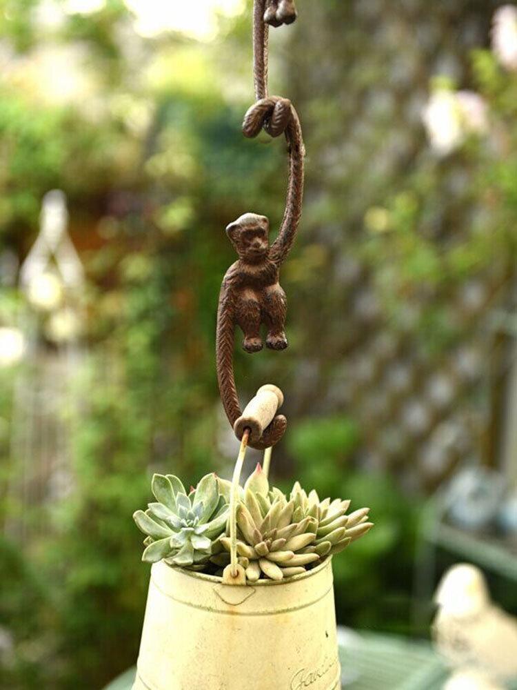 1 pieza Hierro fundido Matt Lovely Monkey Gibbon en forma de S Gancho Animal de jardín Gancho Decoración creativa Percha Para maceta Greenly Planta