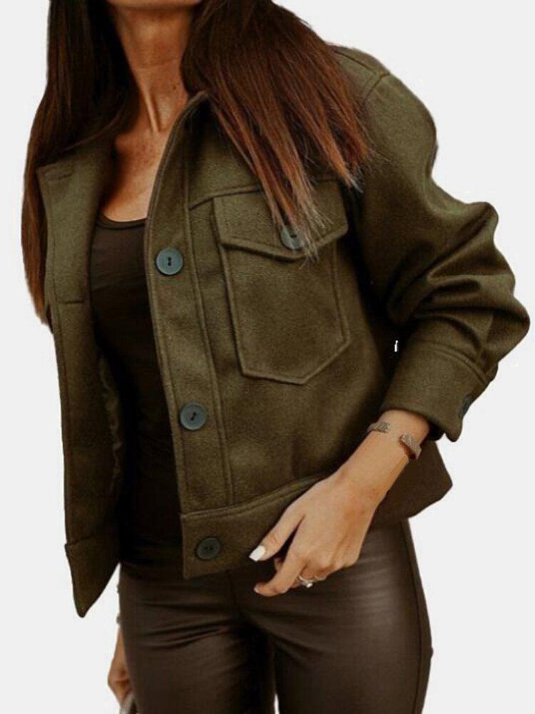 Solid Color Lapel Collar Long Sleeve Pocket Button Woolen Jacket
