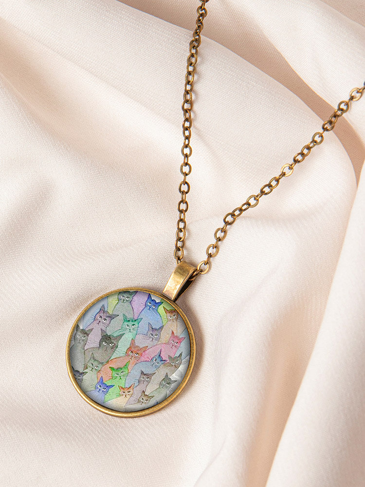 Geometric Round Glass Open Eyes Cat Print Women Pendant Necklace