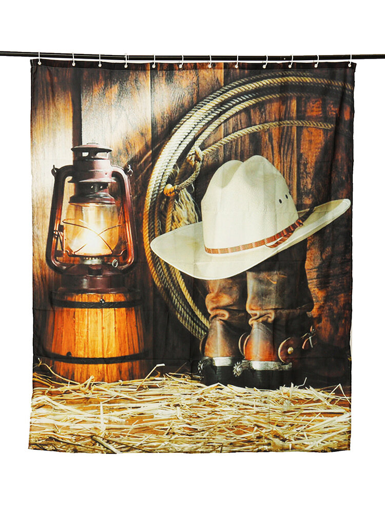 150*180cm Custom Cowboy Theme Waterproof Polyester Fabric Shower Curtain With 12 Hooks
