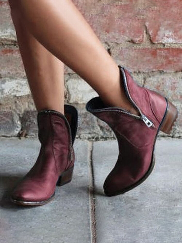 Large Size Women Casual Side-zip Pointed Toe Brief Solid Color Low Heel Ankle Boots