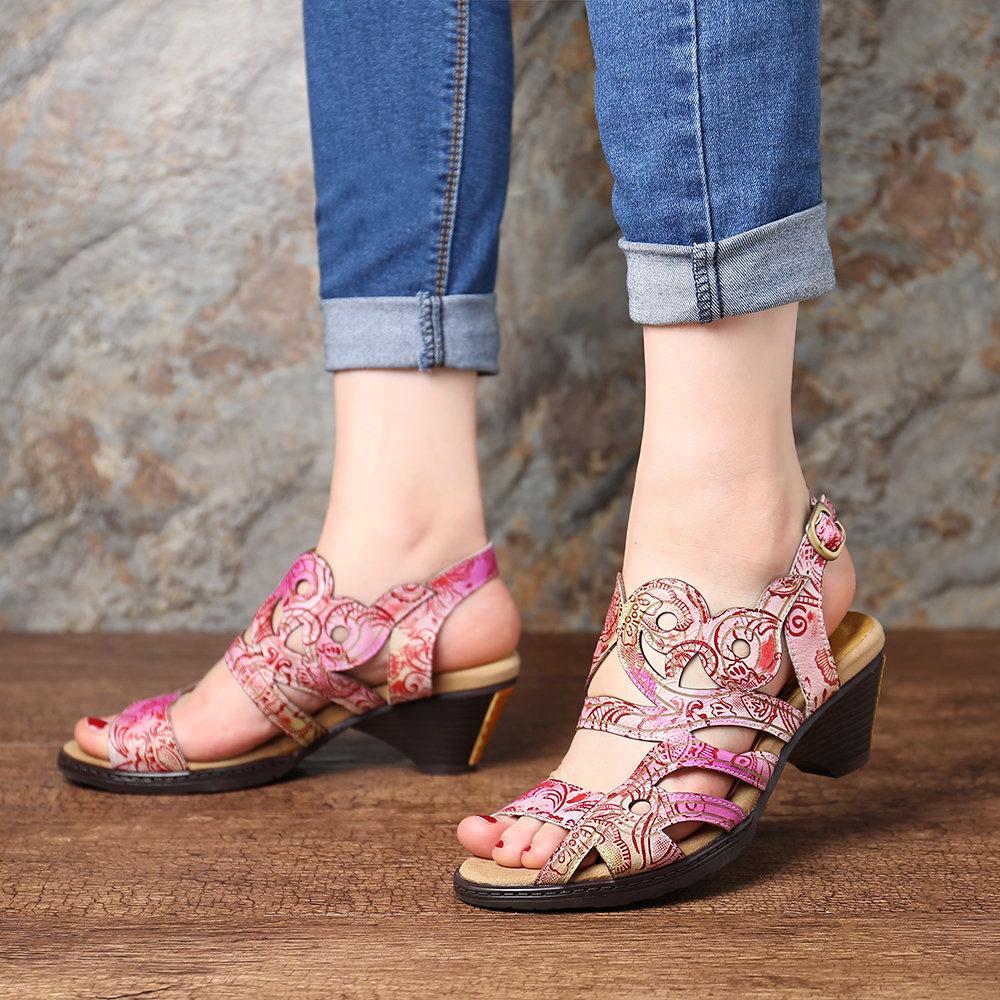 SOCOFY Vintage Gradient Color Genuine Leather Splicing Pattern Comfortable Buckle Strap Sandals