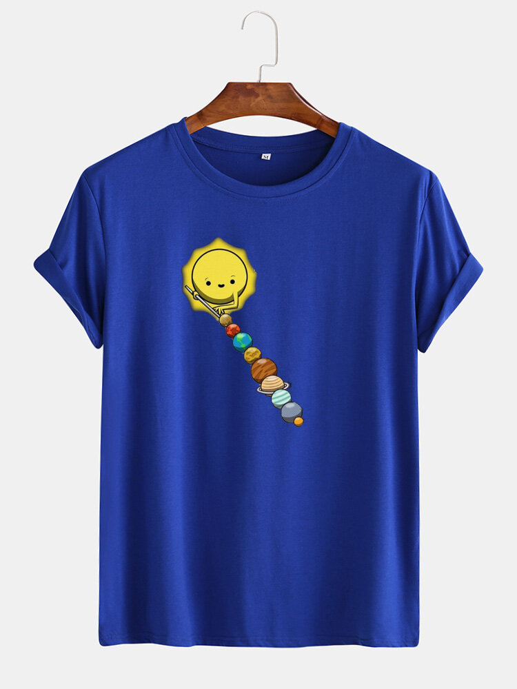 Mens Cotton Funny Colorful Planet Print O-Neck Casual Short Sleeve T-Shirts