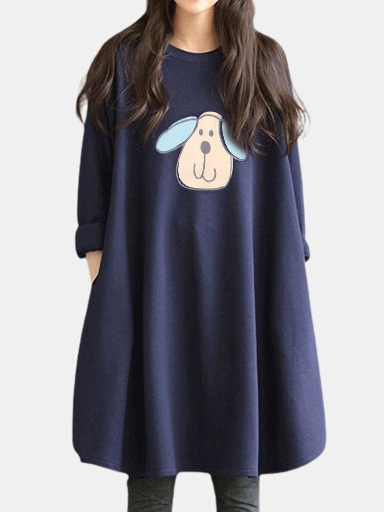 Maternity Cartoon Sheep Print Long Sleeve Casual Nursing Dress