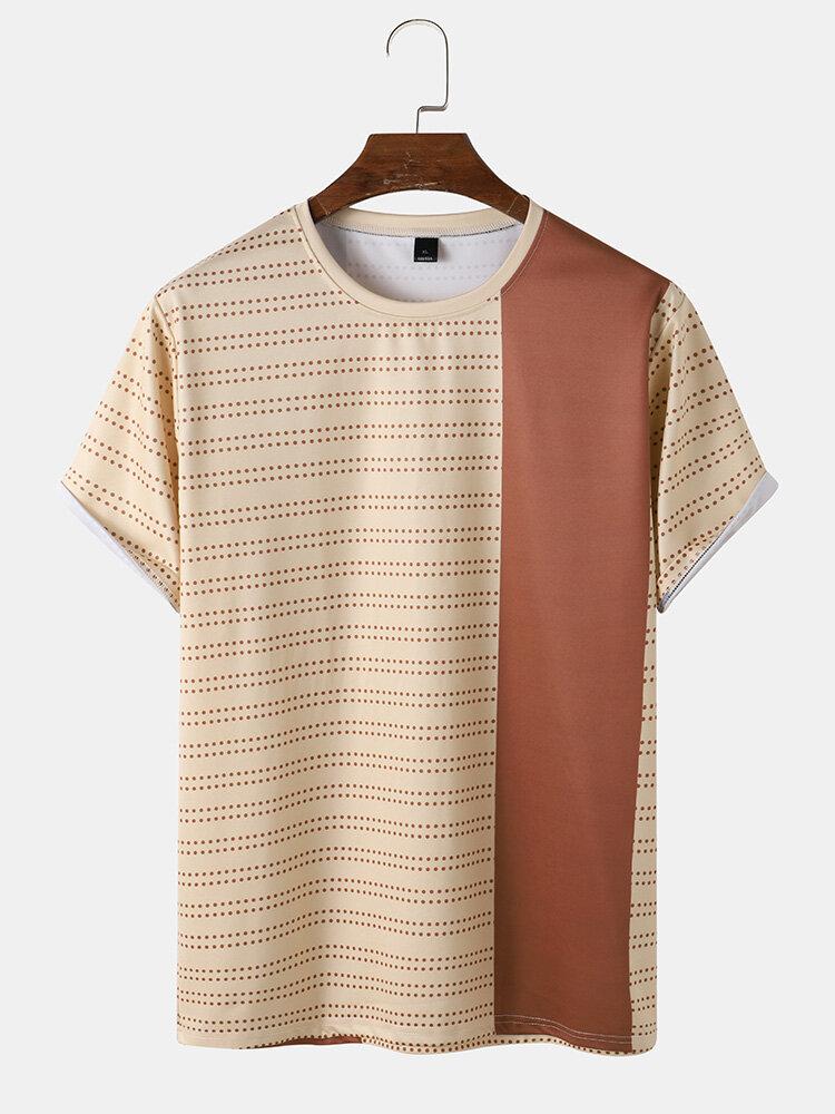 Mens Polka Dot & Color Block Print Crew Neck Short Sleeve T-Shirt