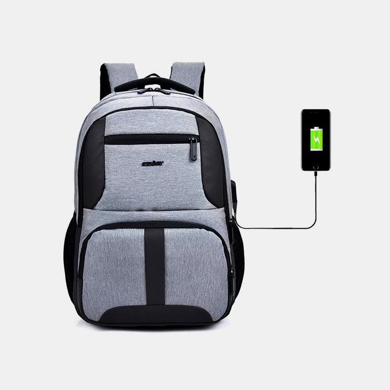 Men Nylon USB Charging Waterproof Business Large Capacity 15.6 Inch Laptop Bag Luggage Backpack
