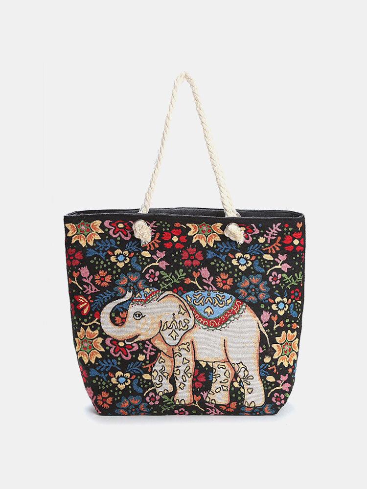 Women Ethnic Elephant Print Embroidered Handbag Tote