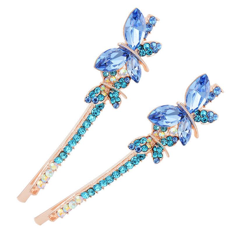甘い水晶蝶ヘアクリップファッションヘッドアクセサリー女性ギフト
