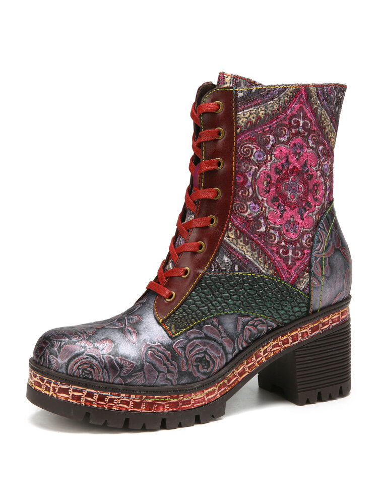 SOCOFY Embossed Floral Genuine Leather Embroidery Splicing Warm Lining Comfy Casual Round Toe Platform Chunky Heel Short Boots