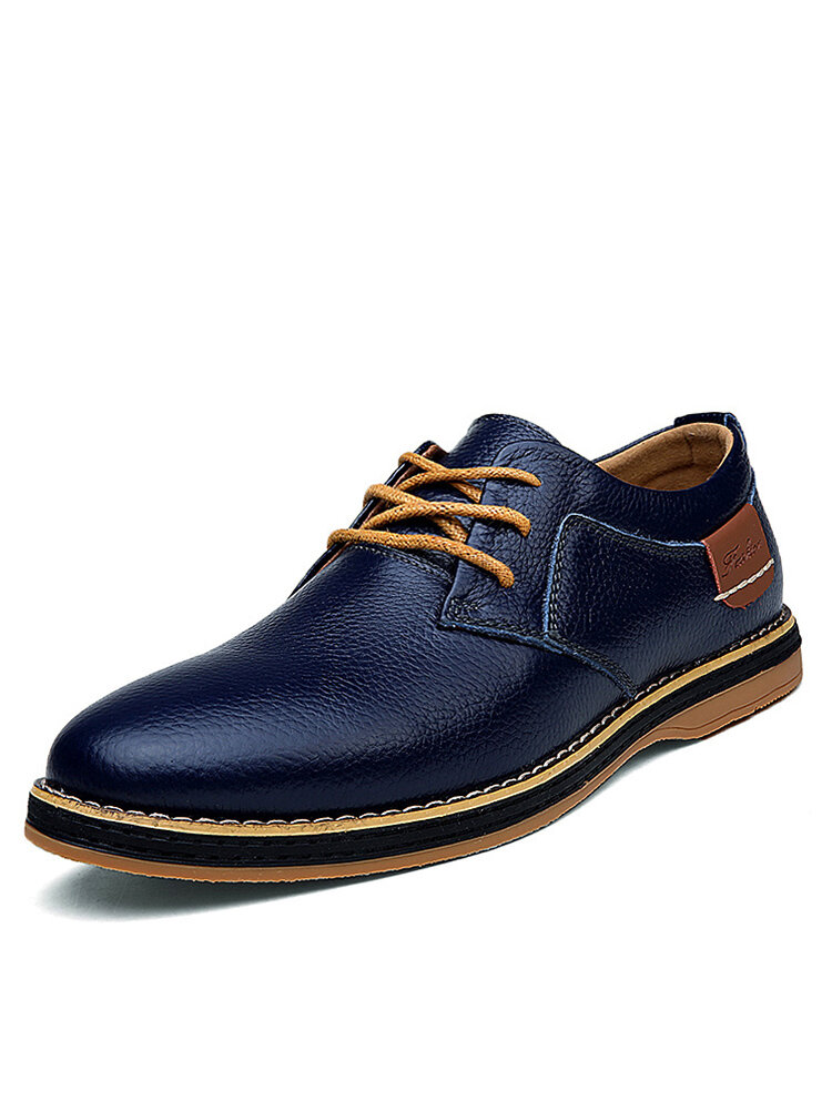 Men British Style Comfy Leather Oxfords Lace Up Business Casual Shoes