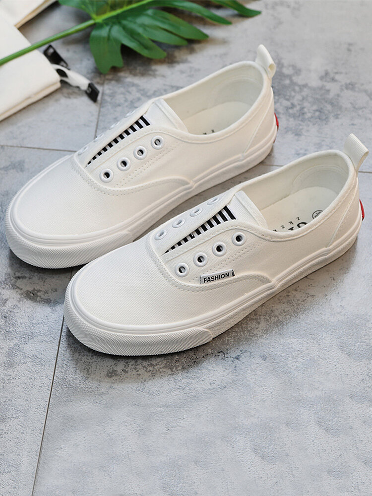 Women Casual Sticting Elastic Band Canvas Skate Shoes