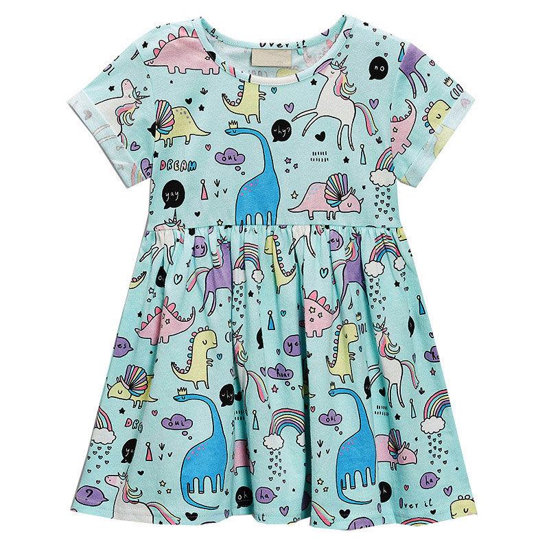 Tier Muster Hübsche Mädchen Kleinkind Kurzarm Casual Sommerkleid für 1Y-9Y