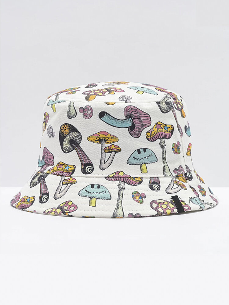 Collrown Women & Men Colorful Mushroom Pattern Print Casual Soft Outdoor Travel Bucket Hat