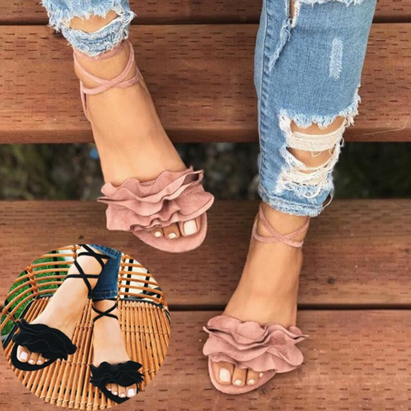 Big Size Women Casual Suede Strappy Solid Color Flat Sandals
