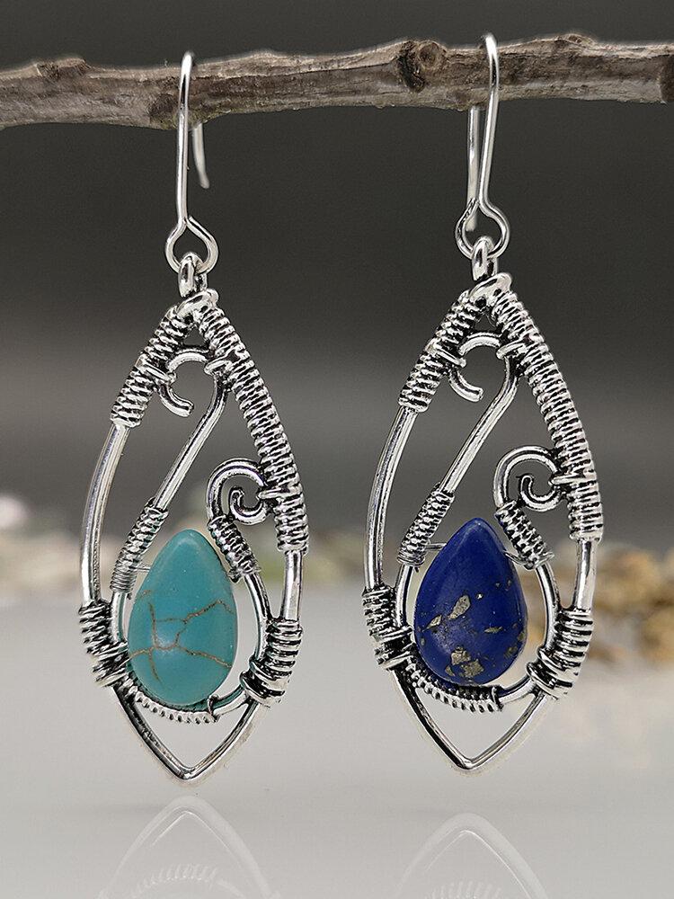 Vintage Turquoise boucles d'oreilles tempérament métal boucles d'oreilles bijoux cadeau - Newchic - Modalova