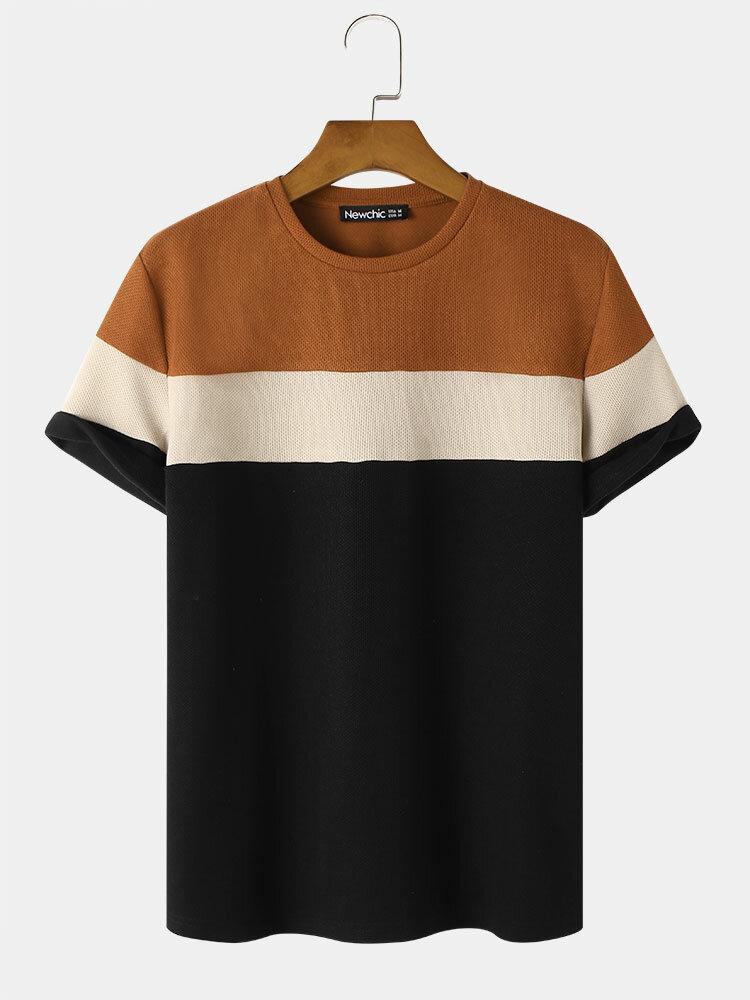 Preppy Mens Patchwork Plain Color Crew Neck Short Sleeve T-Shirt