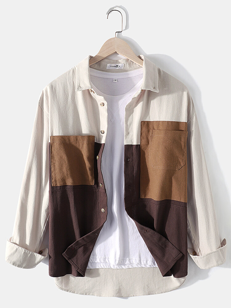Mens 100% Cotton Colorblock Patchwork Loose Chest Pockets Long Sleeve Shirts