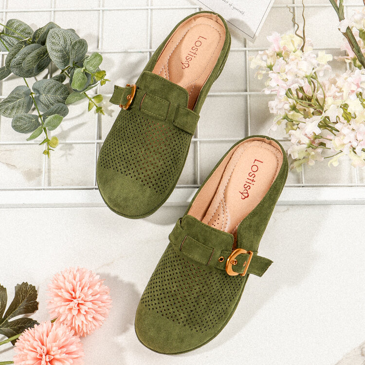 LOSTISY Suede Closed Toe Hollow Buckle Decor Backless Flats for Women