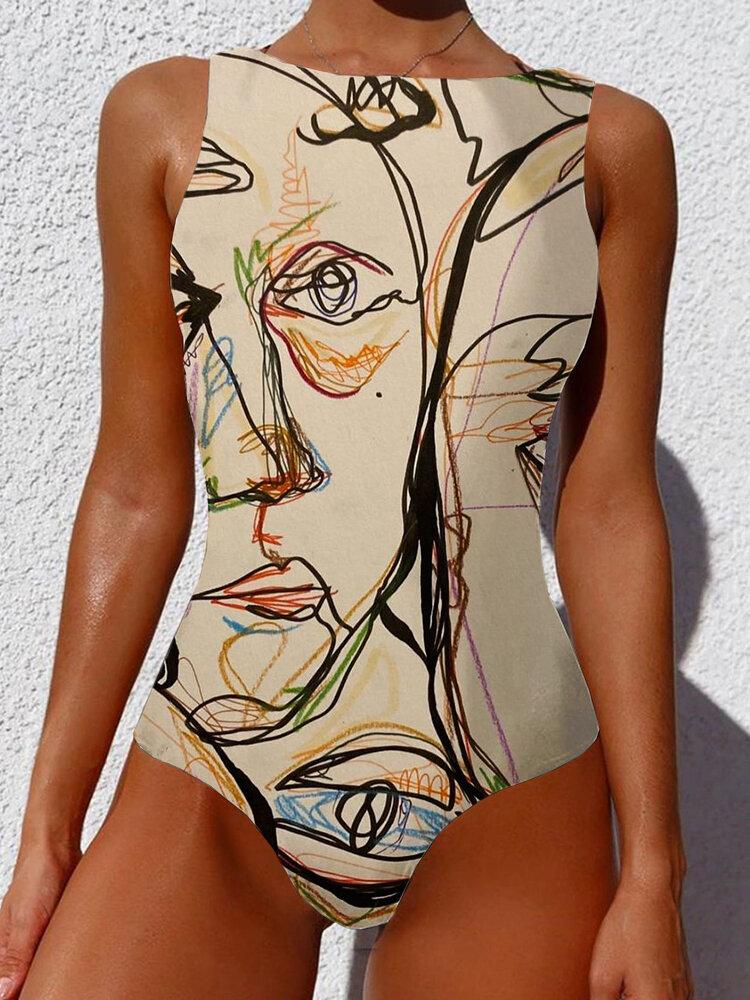 Frauen Graffiti Abstract Print Rundhalsausschnitt One Stück Sleevless Slimming Badeanzug