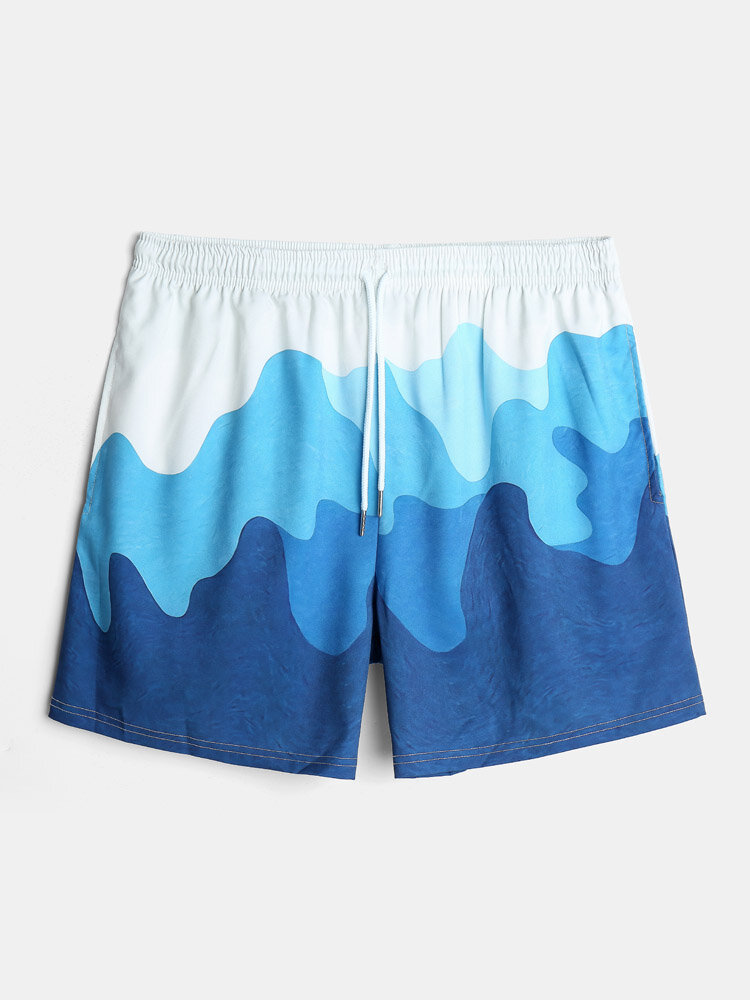 Mens Blue Ombre Pattern Drawstring Holiday Casual Swim Trunk