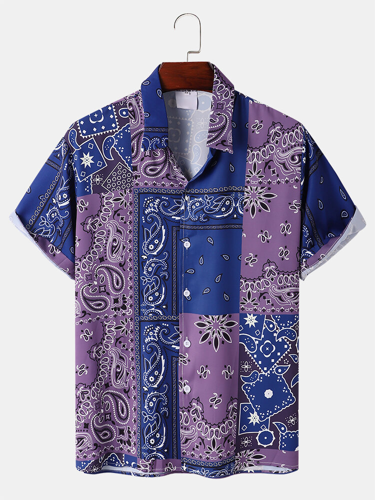 Mens Ethnic Scarf Paisley Print Button Up Short Sleeve Shirts