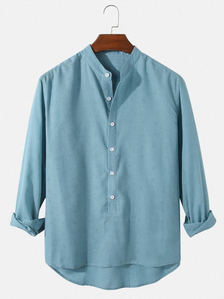 メンズ無地コットンカジュアル長袖高低裾ヘンリーシャツ