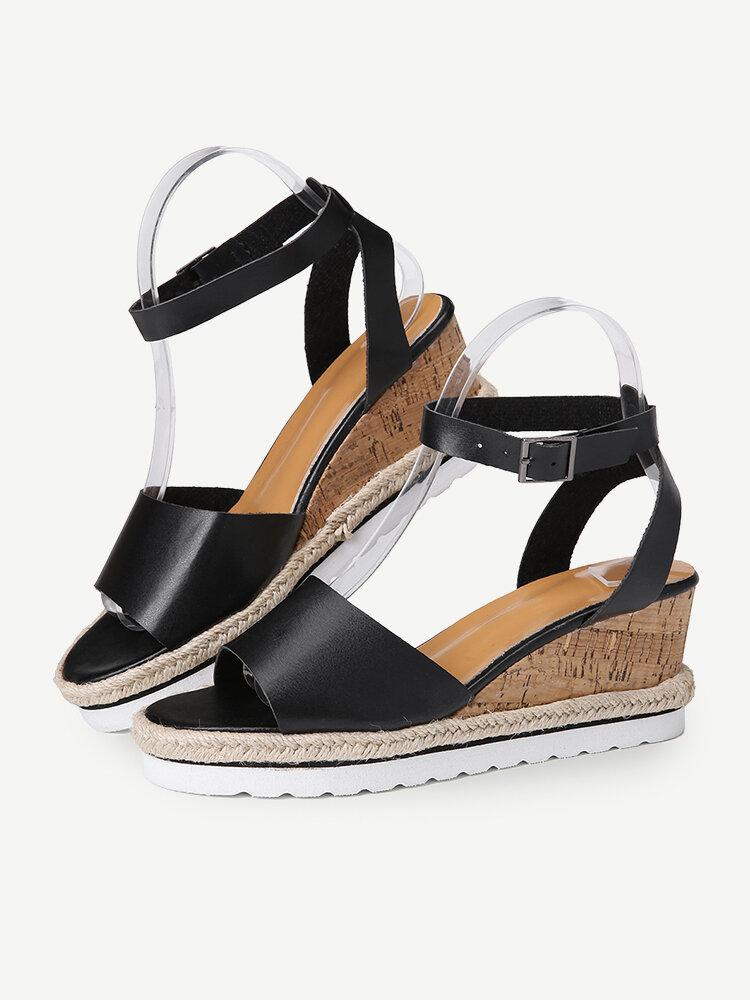 Women Slip Resistant Buckle Strsap Casual Platform Wedges Sandals
