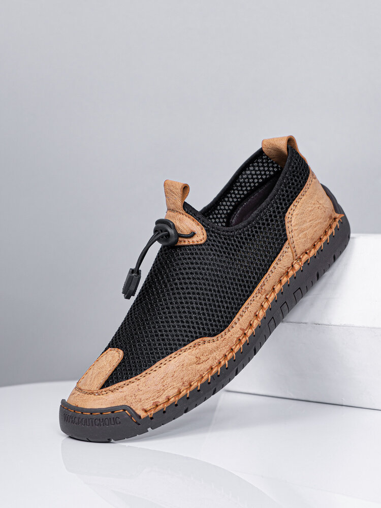 Men Large Size Breathable Mesh Fabric Lace-up Hand Stitching Shoes