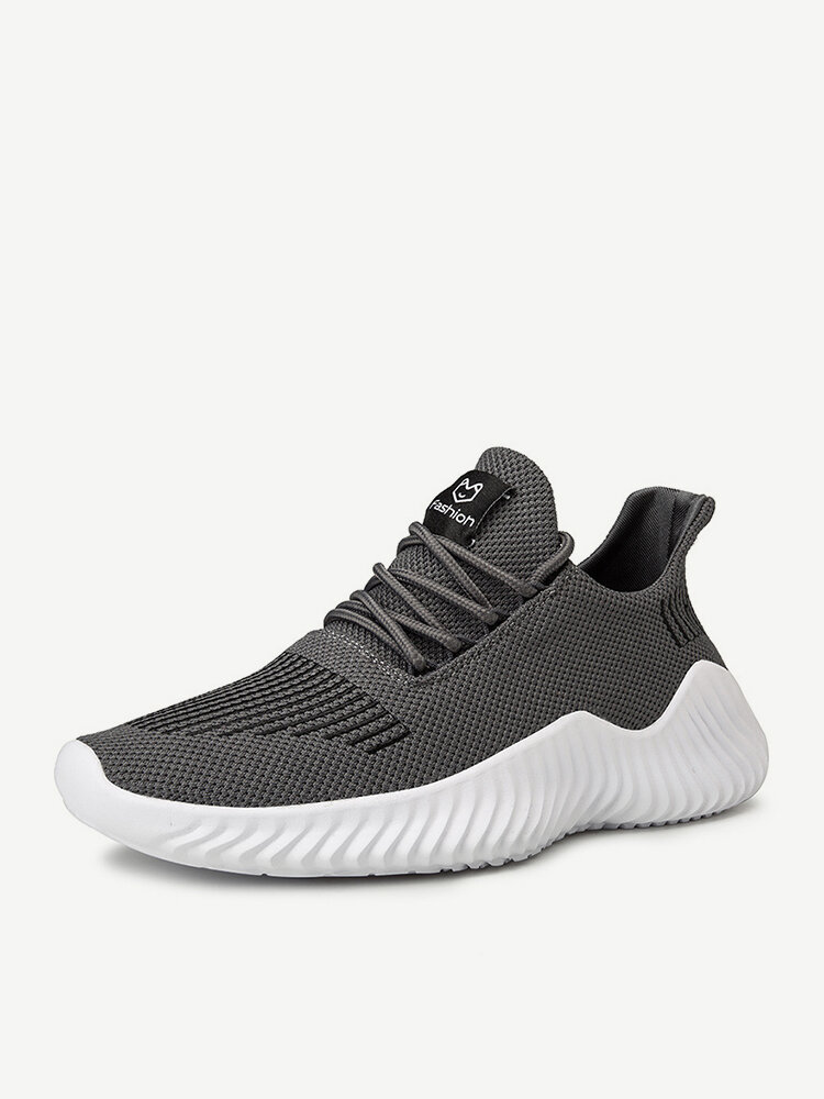 Men Knitted Fabric Breathable Light Weight Running Casual Sneakers