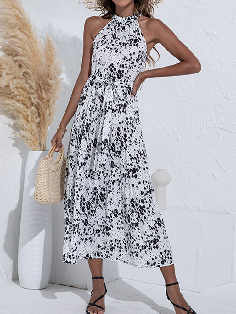 Floral Print Halter Sleeveless Knotted Dress for Women
