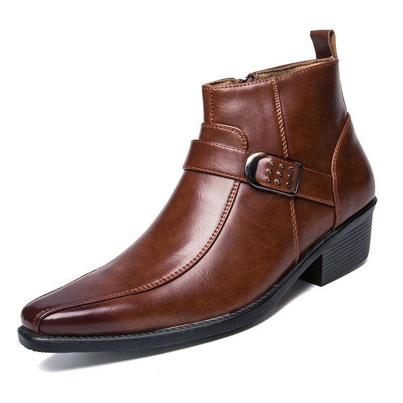 Men Retro Color British Style Slip Resistant Casual Leather Boots