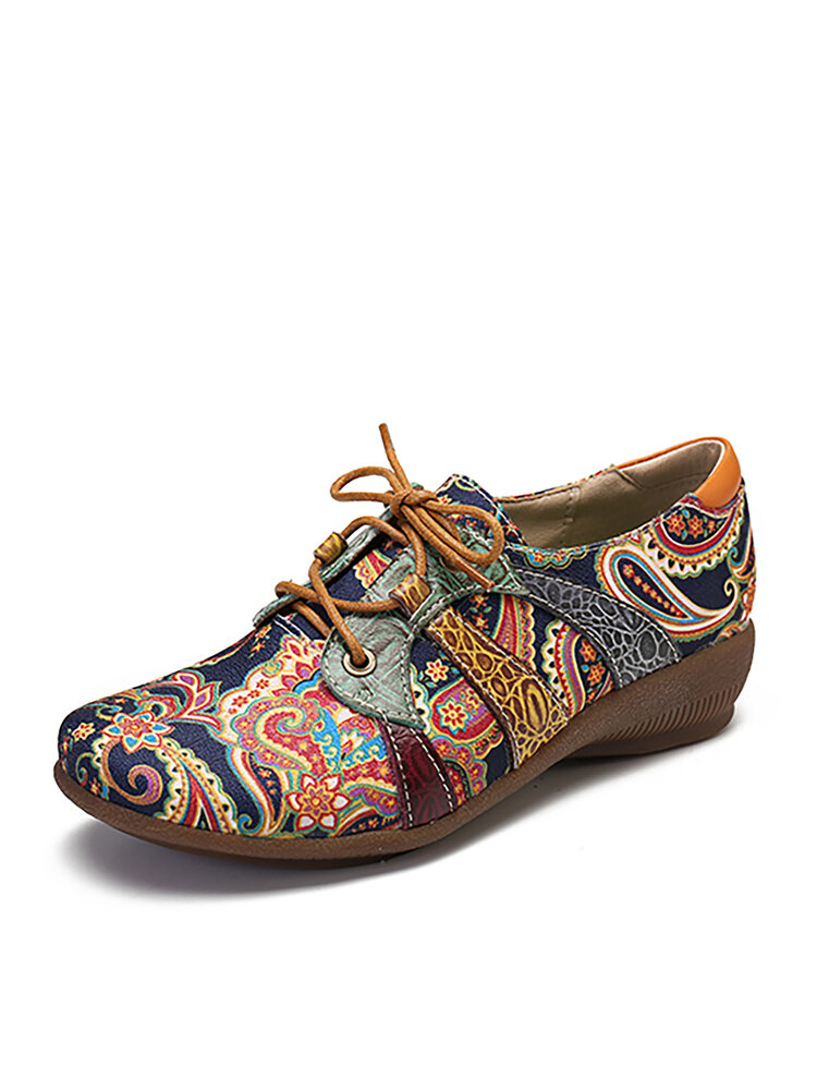 SOCOFY Paisley Textile Splicing Folkways Style Cloth Round Toe Lace Up Flat Shoes
