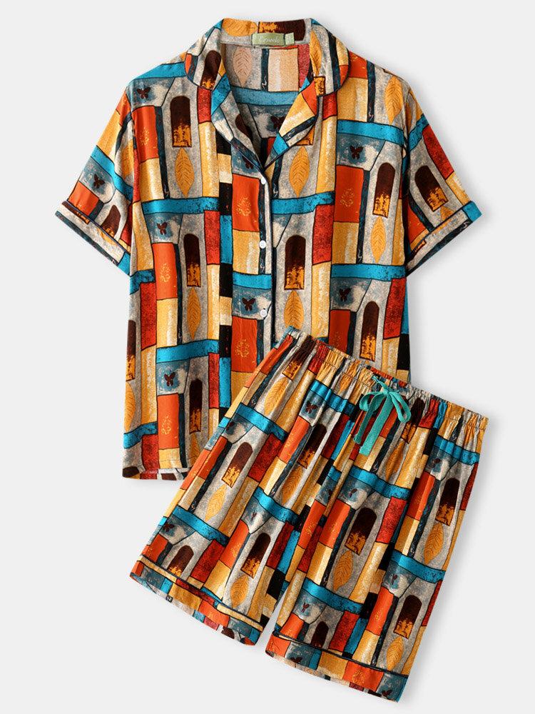 Plus Size Women Vintage Geometric Pattern Short Sleeve Revere Collar Pajama Sets