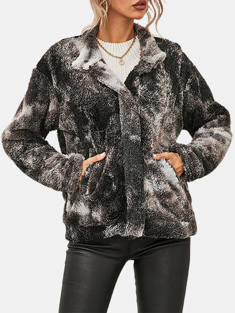 Tie-dyed Print Button Pockets Velet Casual Coats for Women