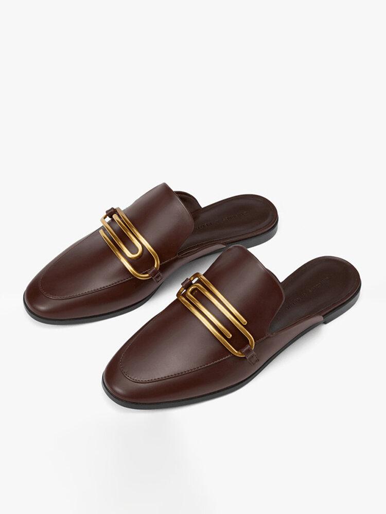 Women Casual Point Toe Metal Decoration Flats Mule Shoes