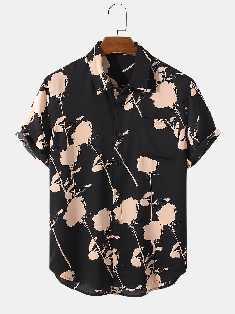 Mens Scribble Rose Floral Print Lapel Holiday Short Sleeve Shirts