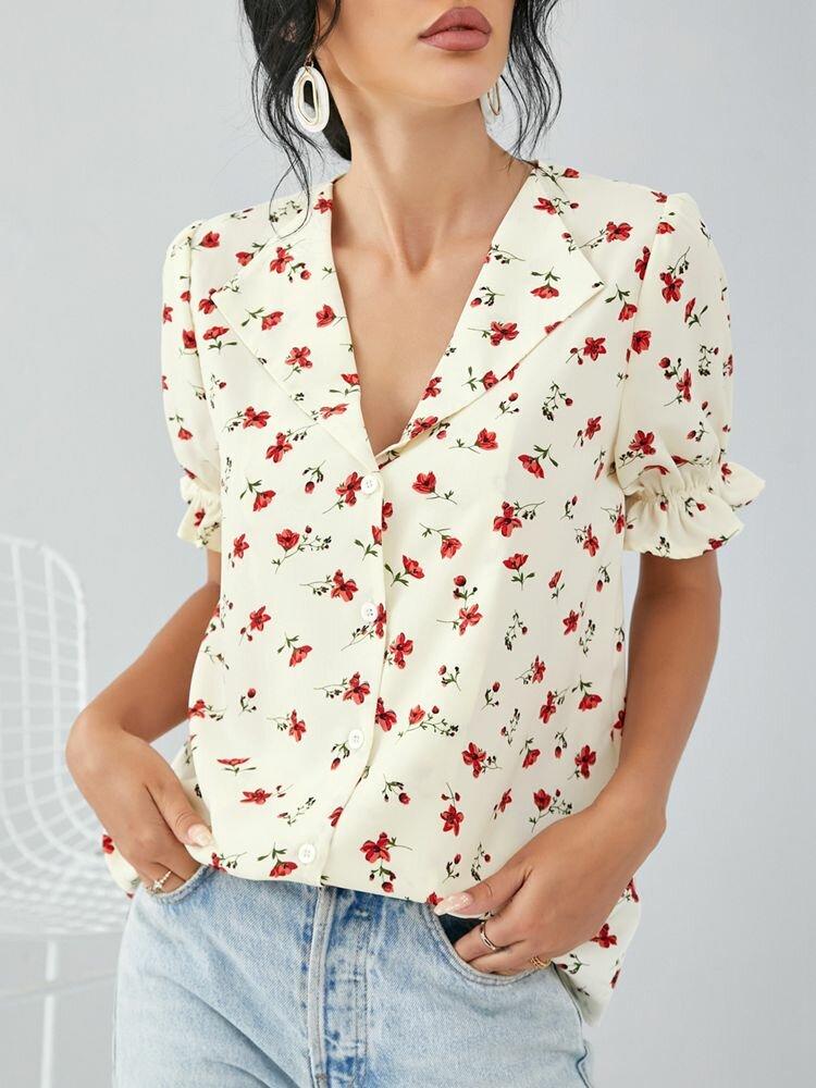 Puff Kurzarm V-Ausschnitt Knopf Blumendruck Damen Bluse