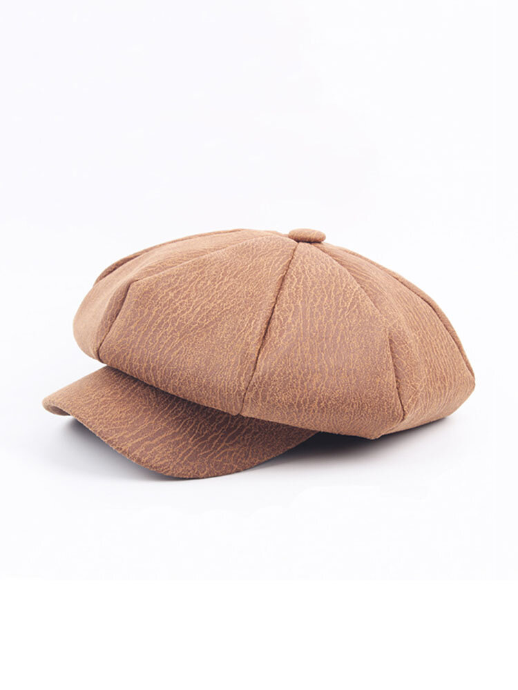 Women Mens Cortical Cracked Pattern Octagonal Cap Casual Simple Painter Hat Newsboy Beret Caps