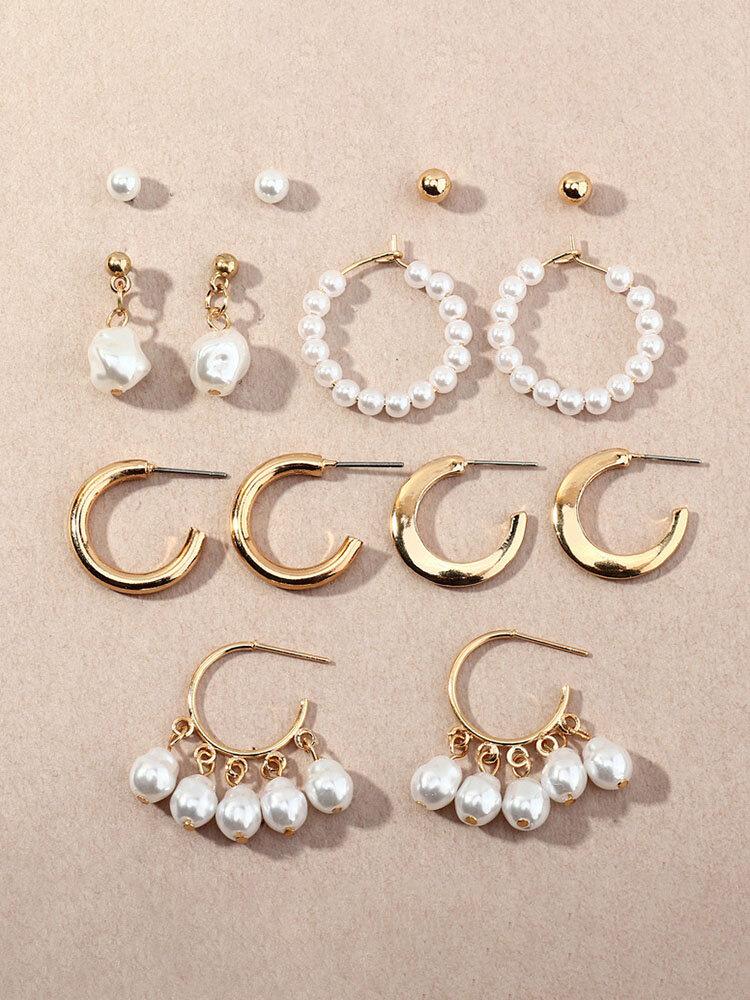 7 Pcs Elegant C-Shaped Women Earrings Set Temperament Pearl Ear Stud Jewelry Gift