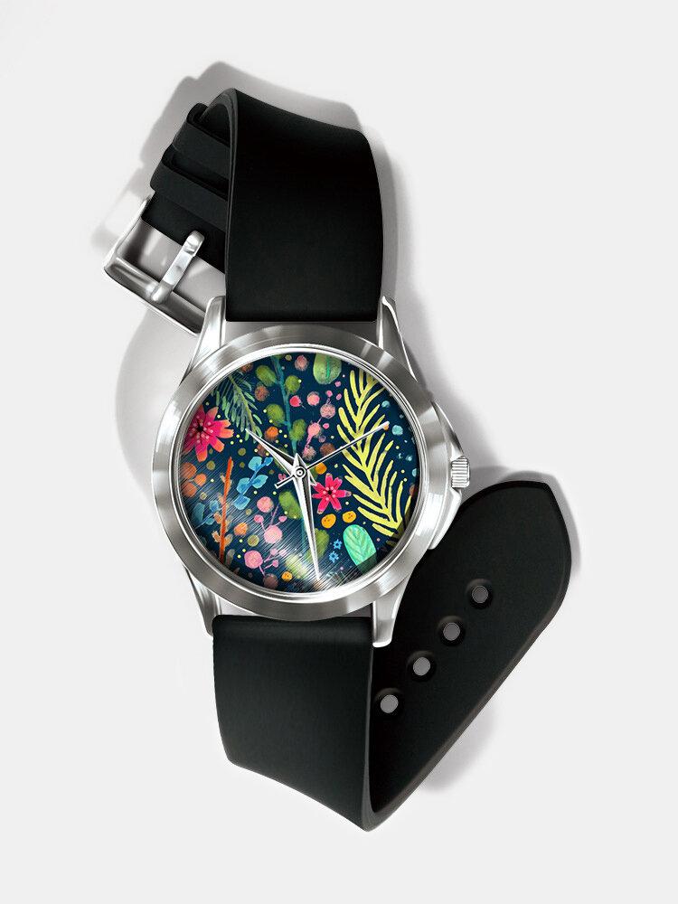 Casual Watercolor Women Wrist Watch PVC Band Leaf Bird Fruit Pattern Men Quartz Watch