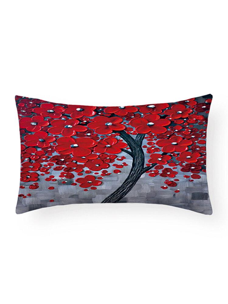 Glücksbaum Malerei Baum Leben Baum Taille Kissen Leinen Digitaldruck Home