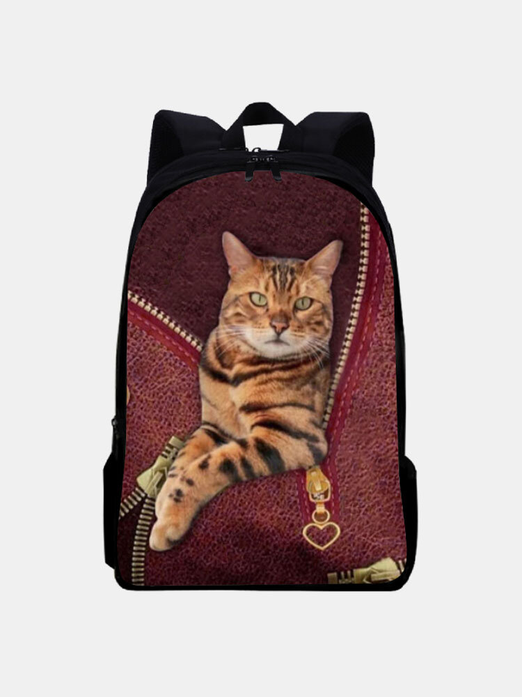 Women Oxford Patchwork Large Capacity Cat Pattern Printing Backpack