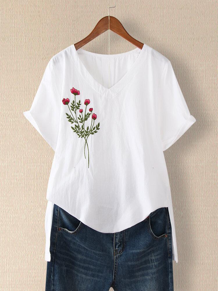 Blumenstickerei V-Ausschnitt Kurzarm T-Shirt